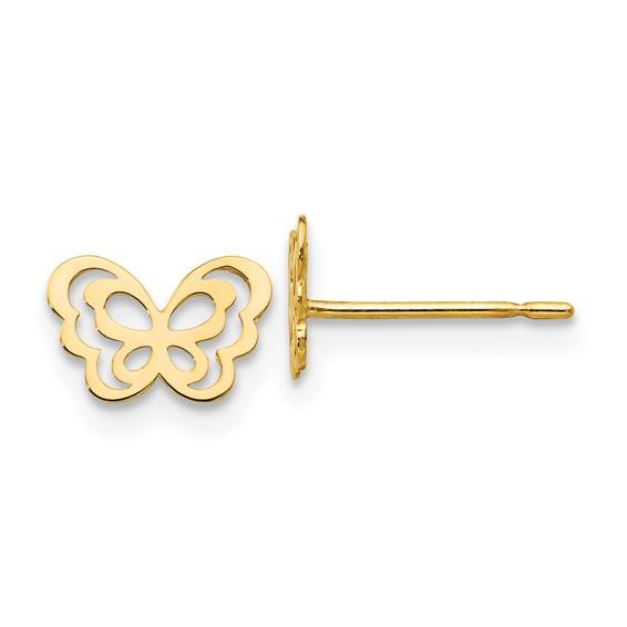 14kt Yellow Gold Madi K Children's Outline Butterfly Earrings