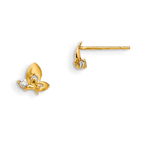 14kt Yellow Gold Madi K Children's Butterfly Post Earrings with CZs
