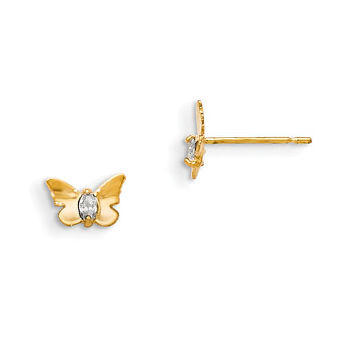 14kt Yellow Gold Madi K Marquise CZ Children's Butterfly Post Earrings