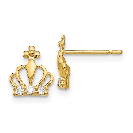 14kt Yellow Gold Madi K CZ Children's Crown Post Earrings
