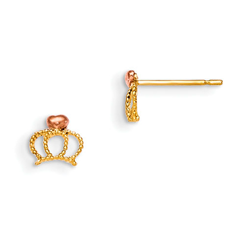14kt Yellow and Rose Gold Madi K Children's Crown Post Earrings