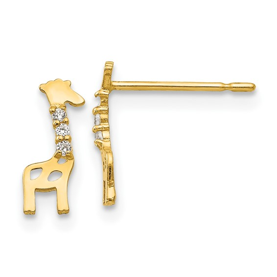14kt Yellow Gold Madi K CZ Children's Giraffe Post Earrings