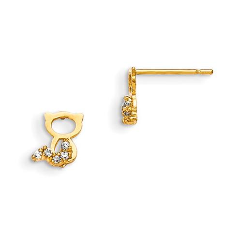 14kt Yellow Gold Madi K CZ Children's Cat Outline Post Earrings