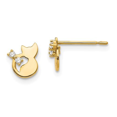 14kt Yellow Gold Madi K CZ Children's Cat Post Earrings