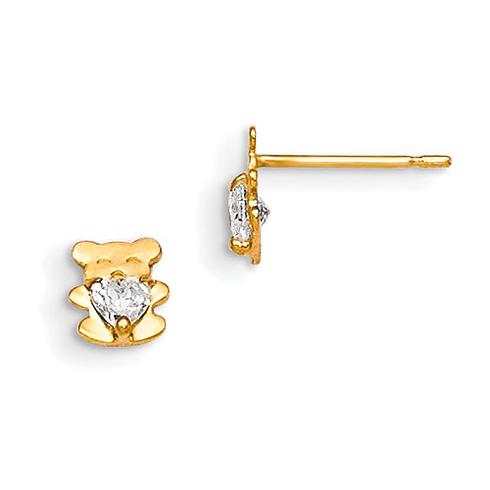14kt Yellow Gold Madi K CZ Children's Teddy Bear Post Earrings