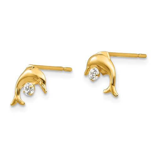 14kt Yellow Gold Madi K CZ Children's Arched Dolphin Earrings