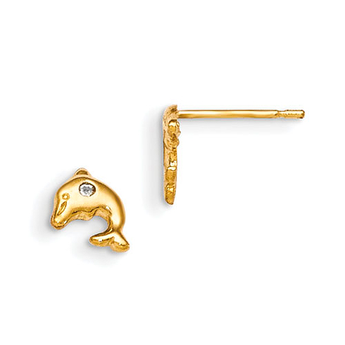 14kt Yellow Gold Madi K CZ Children's Whale Post Earrings