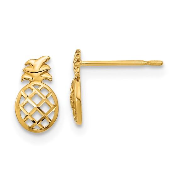 14kt Yellow Gold Madi K Children's Pineapple Post Earrings