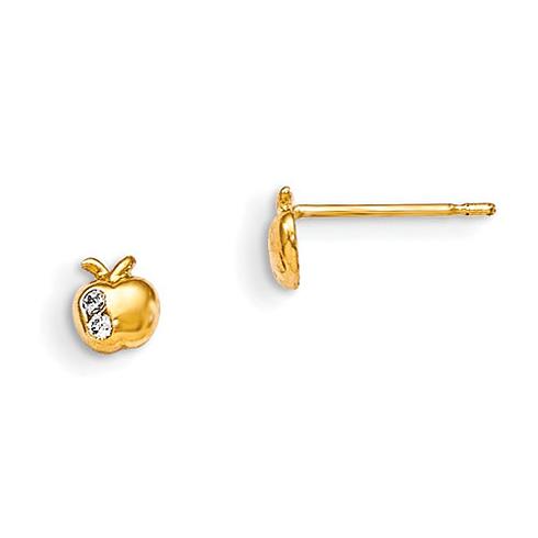 14kt Yellow Gold Madi K CZ Children's Apple Post Earrings