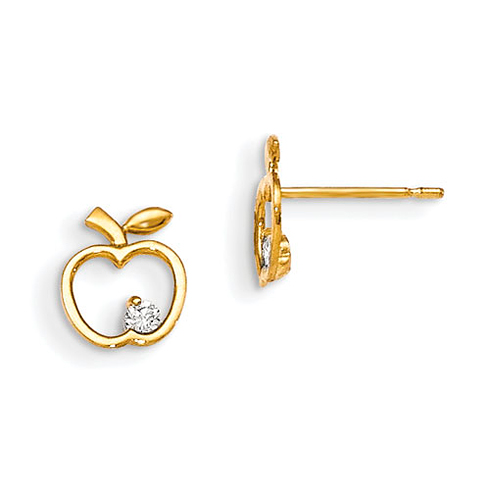 14kt Yellow Gold Madi K CZ Children's Apple Outline Post Earrings