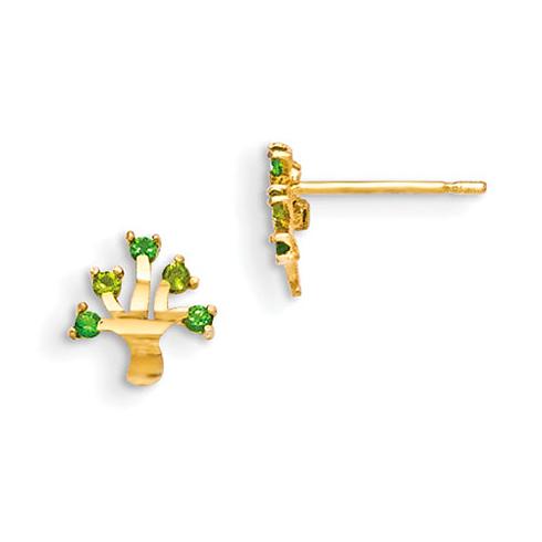 14kt Yellow Gold Madi K CZ Children's Tree Post Earrings