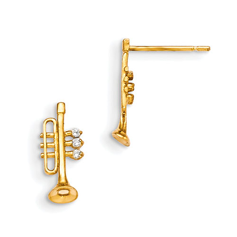 14kt Yellow Gold Madi K CZ Children's Trumpet Post Earrings