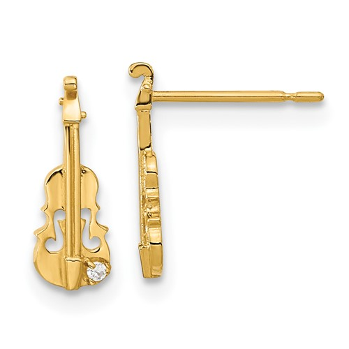 14kt Yellow Gold Madi K CZ Children's Violin Post Earrings