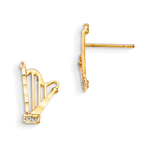 14kt Yellow Gold Madi K CZ Children's Harp Post Earrings