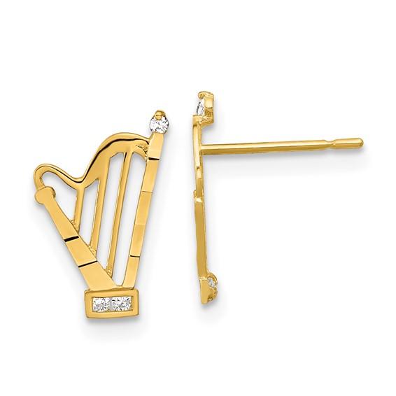 14kt Yellow Gold Madi K CZ Children's Harp Post Earrings