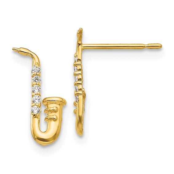 14kt Yellow Gold Madi K CZ Children's Saxaphone Post Earrings