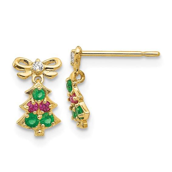 14kt Yellow Gold Madi K CZ Children's Christmas Tree Dangle Post Earrings