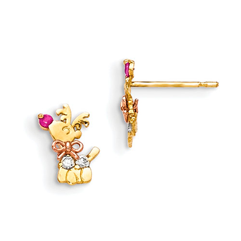 14kt Yellow and Rose Gold Madi K CZ Children's Reindeer Post Earrings