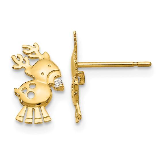 14kt Yellow Gold Madi K CZ Children's Reindeer Post Earrings