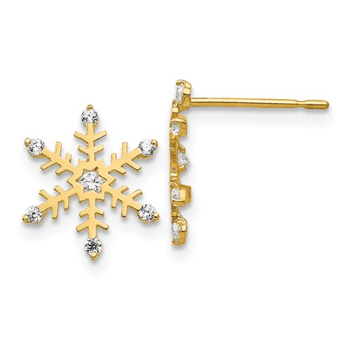 14kt Yellow Gold Madi K CZ Children's Snowflake Post Earrings