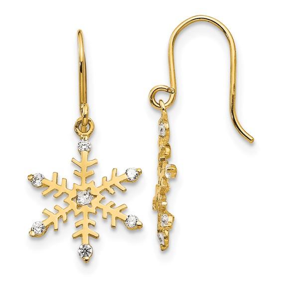 14kt Yellow Gold Madi K CZ Children's Snowflake Dangle Earrings