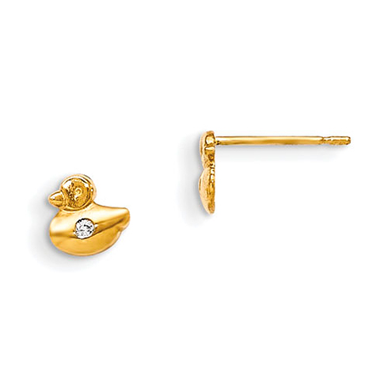 14kt Yellow Gold Madi K CZ Children's Duck Post Earrings