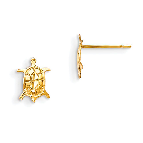 14kt Yellow Gold Madi K Children's Turtle Post Earrings