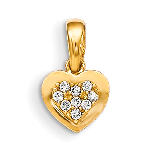 14kt Yellow Gold 1/4in Madi K CZ Children's Heart Pendant