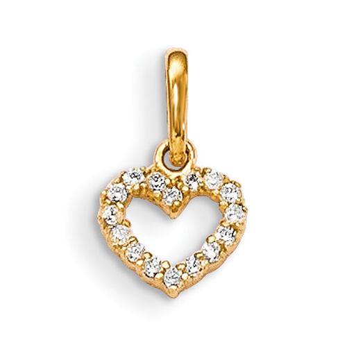 14kt Yellow Gold Madi K CZ Children's Open Heart Pendant