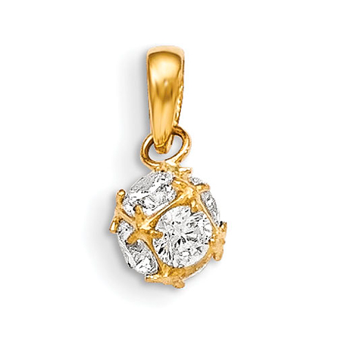 14kt Yellow Gold Madi K 6mm CZ Children's Ball Pendant