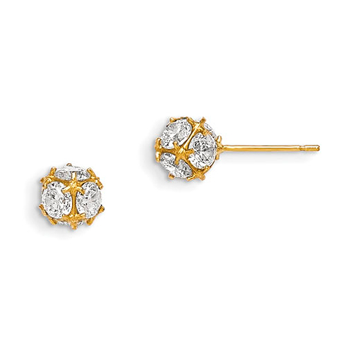14kt Yellow Gold Madi K 6mm CZ Children's Ball Post Earrings