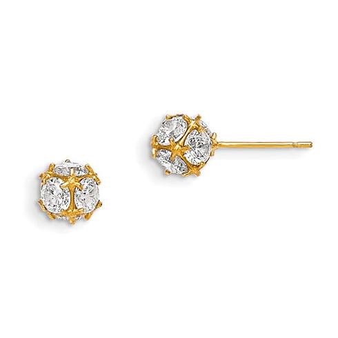 14kt Yellow Gold Madi K 6mm CZ Children's Ball Post Earrings
