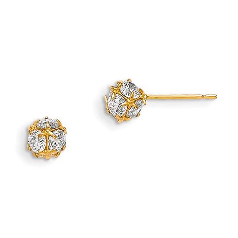 14kt Yellow Gold Madi K 5mm CZ Children's Ball Post Earrings
