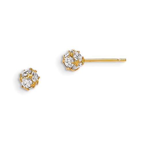 14kt Yellow Gold Madi K 4mm CZ Children's Ball Post Earrings