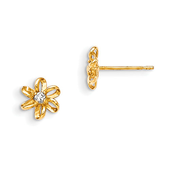 14kt Yellow Gold Madi K CZ Children's Flower Post Earrings