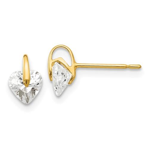 14kt Yellow Gold Madi K 5mm Heart CZ Children's Post Earrings