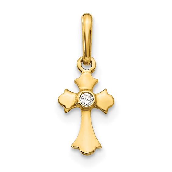 14kt Yellow Gold 3/8in Madi K CZ Children's Budded Cross Charm