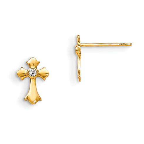 14kt Yellow Gold 3/8in Madi K CZ Children's Budded Cross Earrings