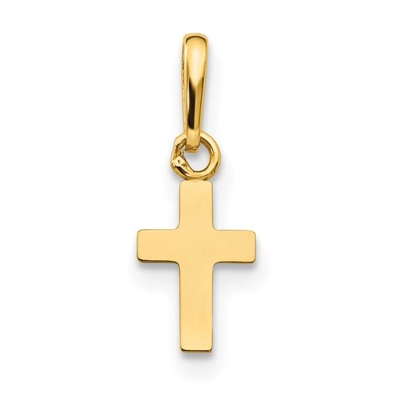 14kt Yellow Gold 3/8in Madi K Children's Classic Cross Pendant