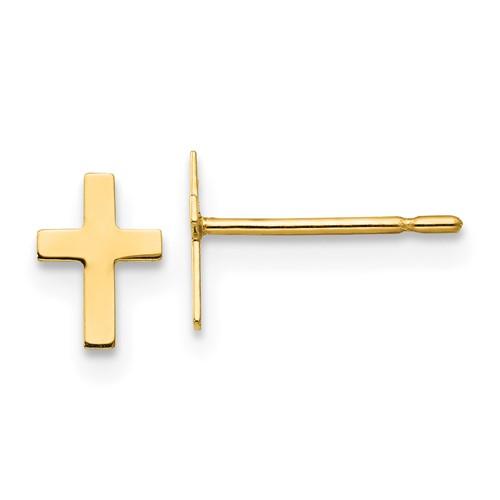 14kt Yellow Gold Madi K Children's Classic Cross Post Earrings