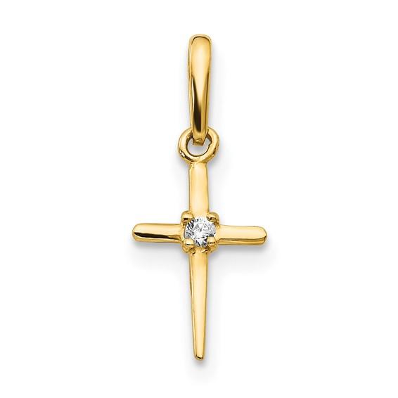 14kt Yellow Gold 1/2in Madi K CZ Children's Slender Cross