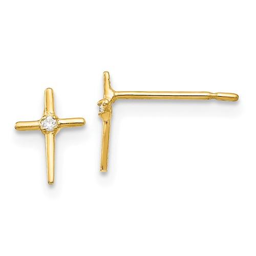 14kt Yellow Gold 1/4in Madi K CZ Children's Cross Post Earrings