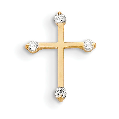 14kt Yellow Gold 1/2in Madi K Children's Cross with Four CZs