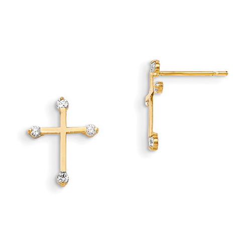 14kt Yellow Gold 1/2in Madi K Children's Cross Earrings with Four CZs