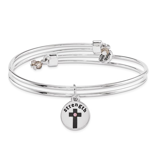 Silver-tone Mixed Metal Have Strength Charm Bangle