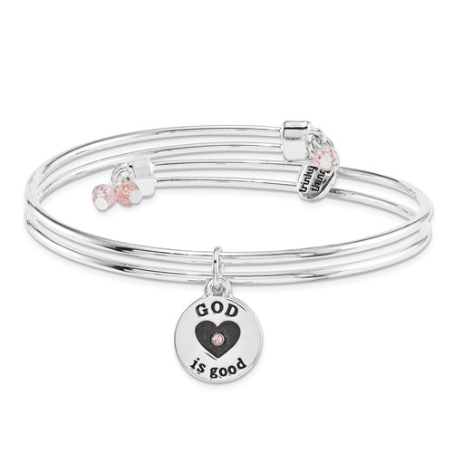 Silver-tone Mixed Metal God Is Good Charm Bangle