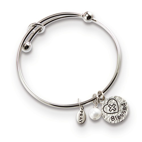 Silver-tone Mixed Metal Blessed Charm Expandable Bangle