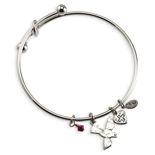 Silver-tone Mixed Metal Cross Charm Communion Expandable Bangle
