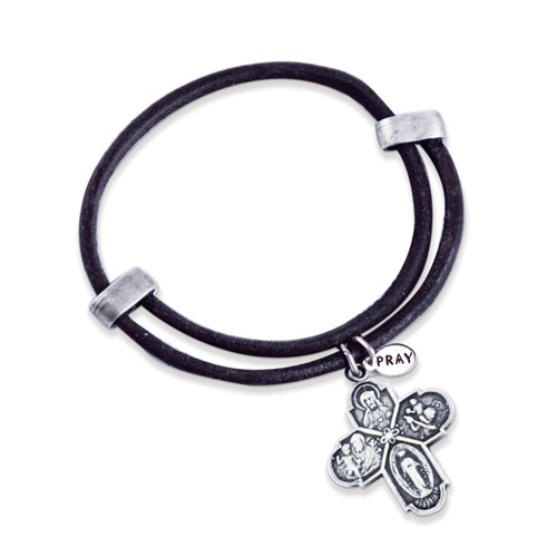 Leather and Mixed Metal Four Way Cross Medal Expandable Bracelet