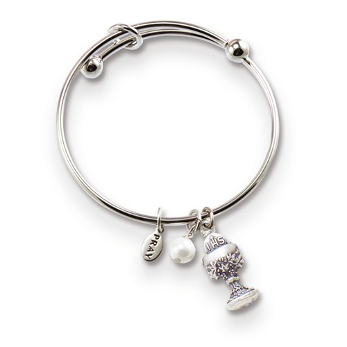 Silver-tone Mixed Metal Communion Chalice Expandable Bangle
